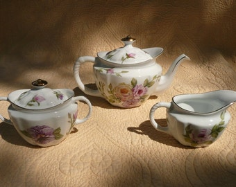 Tea Set  with Pansies and Pink and Yellow Roses