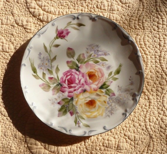 Pink and Yellow Rose Vintage German Plate