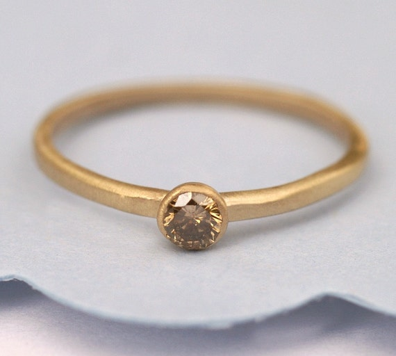 Champagne  Diamond, Gold  Ring, Engagement Diamond Ring, 14K Gold Ring Tula Jewelry