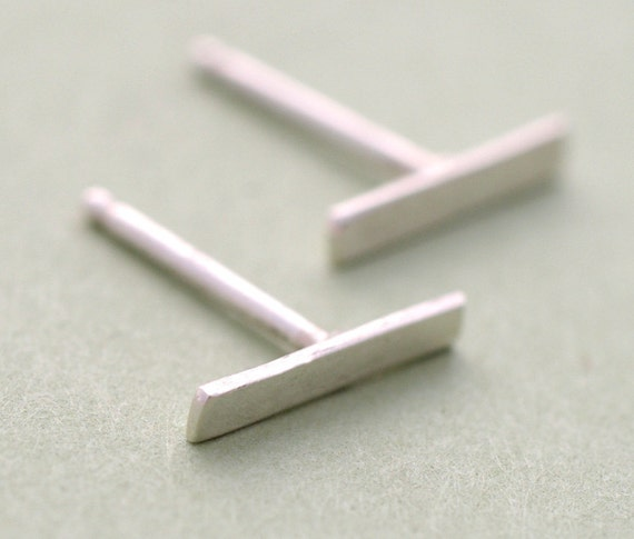 Silver  Bar Studs Earrings, Silver Post Earrings, Small Petite Earrings.
