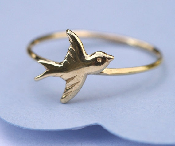 Animal Charm Ring, Gold Ring, Bird Charm Ring, Solid 14K Gold Ring, Tula Jewelry.