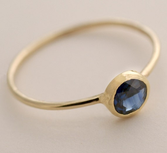 5mm Blue Sapphire Ring, 14K Gold Ring, Engagement Ring With Blue Sapphire, Made To Order In White Gold, Yellow Gold and Rose Gold.