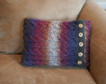 Handknit Cableknit Wool Pillow cover with organic coconut buttons SALE
