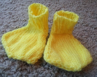hand knit baby yellow duck feet Made to Order