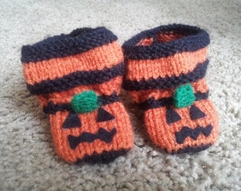 baby jack-o-lantern booties size made to order 0-12 months