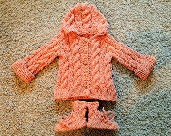 Hooded Cable Knit Pumpkin Baby Sweater with booties Made to Order