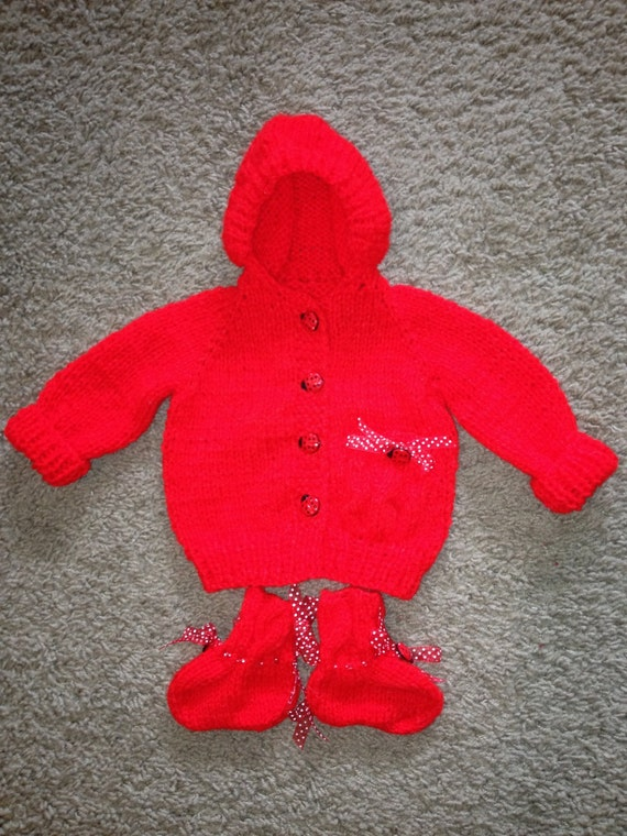 Handmade Knitted hooded Baby Sweater with booties lady bug buttons 0-3 Months