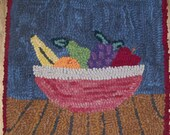 Fruit Bowl  Original Primitive Hooked Rug or Wall Hanging