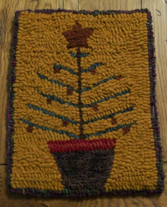 Old Tyme Feather Tree Primitive Hooked Rug And Wall Hanging