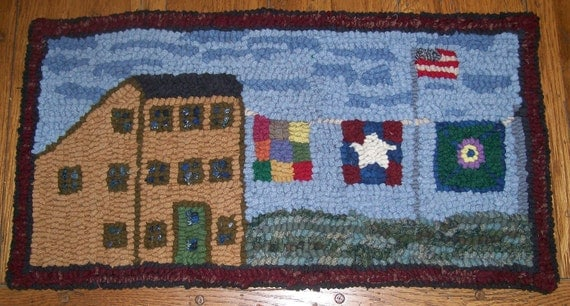 Mustard Saltbox and Quilts Primitive Rug Hooking Kit