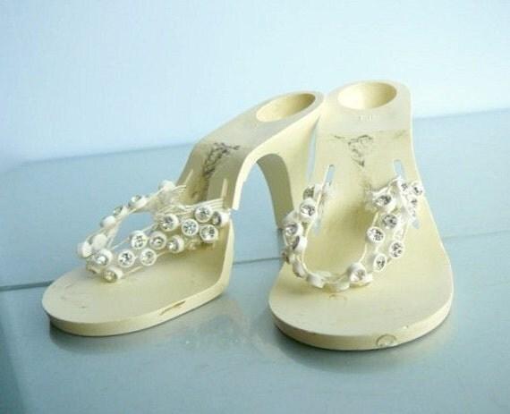 vintage rhinestone high heel doll shoes