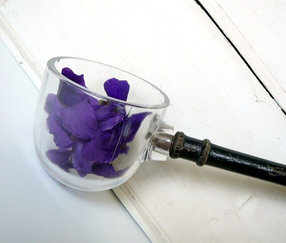Vintage Glass Ladle Dipper Wooden Handle