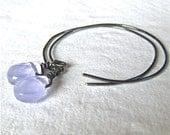Hand formed gunmetal hoops and chalcedony briolette dangle earrings