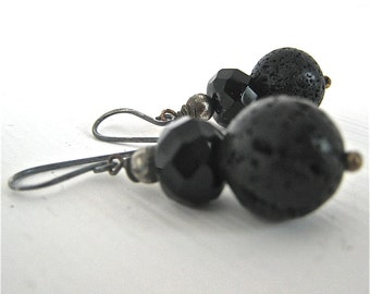 Black lava, Swarovski and Sterling Drop Earrings