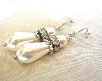 White Pearl and Crystal Earrings, Swarovski Crystals with Long Pearls, Pearl Dangle Earrings