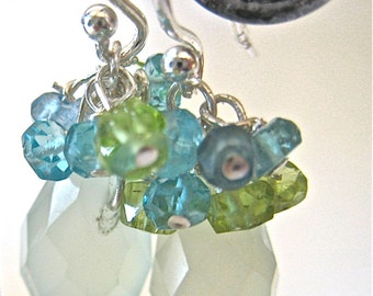 Green and Aqua Blue Gem Earrings,  Sterling Silver Wire Wrapped Cluster Earrings REDUCED!