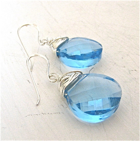 Aqua Blue Earrings, Blue Stone and  Sterling Silver Dangle Earrings