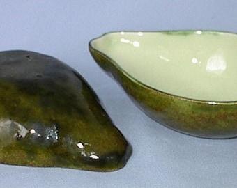Vintage New England Hand Made Ceramic Avocado Dish Set of Two