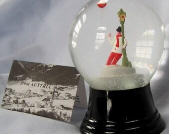 Vintage Austrian Perzy Glass Snowglobe Jollly Beer Drinker