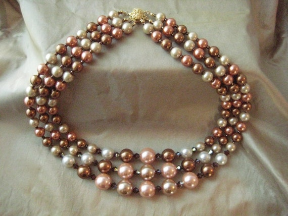 CLEARANCE - Sunset - Vintage Inspired 3 Strand Statement Necklace