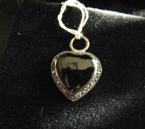 Vintage 925 Sterling Silver Black Onyx Heart Pendant