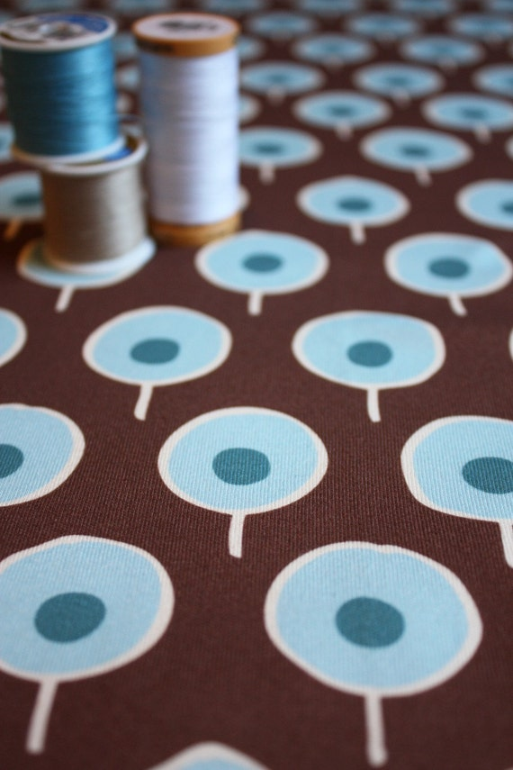 Fat Quarter - Organic Cotton Interlock Knit - MOD TREES BROWN - Original Fabric