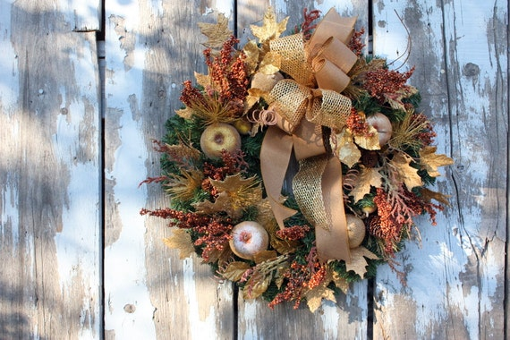 Christmas wreath gold bronze fruit mixed by