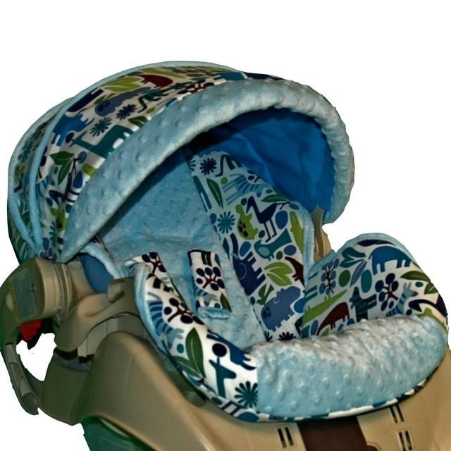 Graco Snugride Custom Infant Car Seat Cover Blue Zoo
