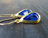 Sapphire Blue Vintage Drop Earrings on 14K Gold Filled Ear Wires