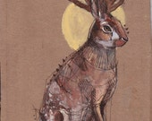 Jackalope on Cardboard - original mixed media painting