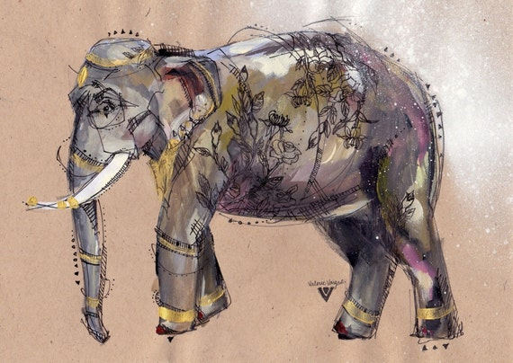 Elephant with tattoos Print