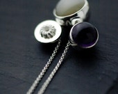 Bundle of delish Moonstone, Amethyst and french cruller silver ball necklace