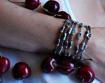 Sterling Chain |Ice Princess | Swarovski Crystal Bangle Bracelet or Necklace, Cuff Wrap