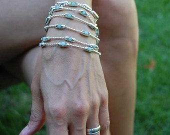 Womens sterling chain braclet | Ocean Waters | Amazonite stone set in sterling settings.  A beautiful strong wrap bracelet