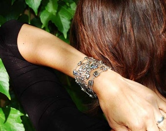 Chain Womens Beaded Bracelet | Shooting Stars | Swarovski Crystal, sterling silver wrap cuff bracelet.