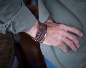 Mens Personalized Leather Bracelet | Gunmoke Twin |  Mens Sterling Silver, Leather Wrap Custom Bracelet