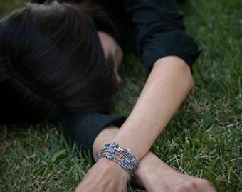 Womens Beaded Chain | Blue Breeze | Sterling Silver, Swarovski Crystal Bracelet, Women's Necklace, Women's Custom Wrap Bracelet