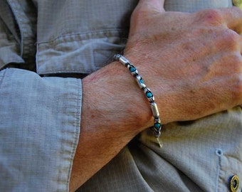 Mens Turquoise Sterling Bracelet | The Don | turquoise and sterling silver mens or womens bracelet, beaded Turquoise bracelet