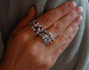 Ring Trio, Womens Swarovski Crystal, Sterling Silver, Semi-precious stone Rings, Women's Rings, Custom Rings