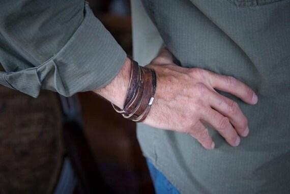 Mens Personalized Leather Bracelet   Gunmoke Twin    Mens Sterling Silver, Leather Wrap Custom Bracelet