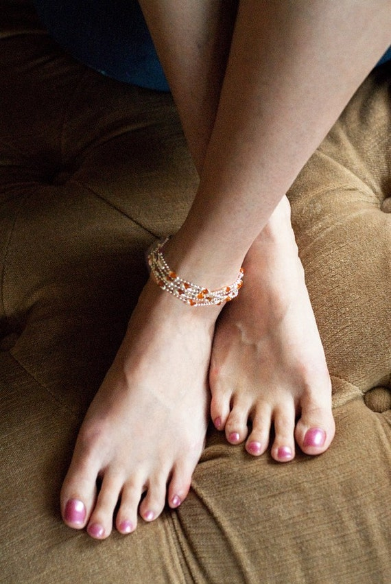 Sunset, Womens Sterling Silver Anklet, Women's Cuff Bracelet , Women's Necklace, Crystals, Semi-Precious Stones, Personalize