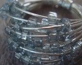 Grey Glass Spiral Ring- silver