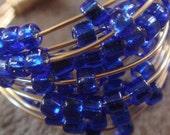 Cobalt Blue Glass Spiral Ring- gold