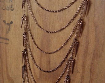 Copper Spiked Tiered Necklace