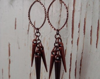 Copper Marquis Spikes Earrings