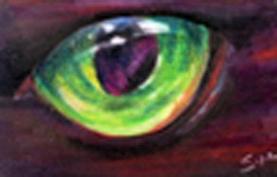 original art aceo card drawing green cat eye