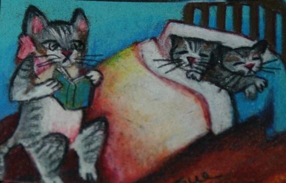 original art aceo card drawing Mother cat bedtime stories