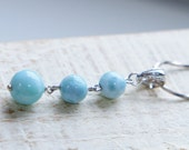 Three Sky Blue Larimar Beads Pendat Necklace Sterling Silver
