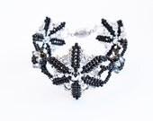 Black Silver Star Midnight Star Beaded Bracelet Handmade Unique Swarovski Crystal