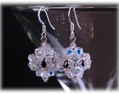 Beaded Swarovski Crystal Earrings - Bridal Dangle Earrings - Wedding Earrings, Bead-woven, Handwoven Earrings